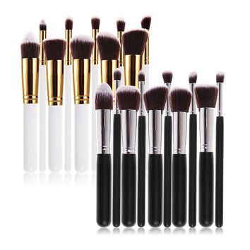 New 10Pcs Professional Cosmetic Makeup Tool Brush Brushes Set Foundation Contour Powder Eyeshadow Cosmetic Set