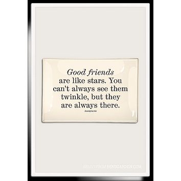 Good Friends Are Like Stars Decoupage Glass Tray