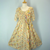 80s Cotton Gauze Dress Butter Cream Floral Beach Day Dress