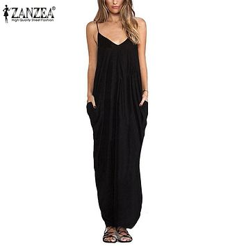Zanzea  Summer Women Boho Sexy V Neck Sleeveless Beach Dresses Ladies Casual Loose Long Maxi Solid White Dress Vestidos
