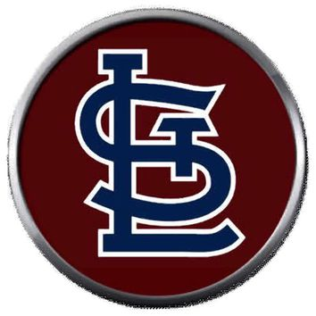 Burgundy STL St Louis Cardinals MLB Baseball Logo 18MM - 20MM Snap Jewelry Charm New Item