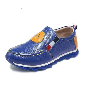 Boys School Shoes Low-heeled Genuine Leather Loafers Moccasins
