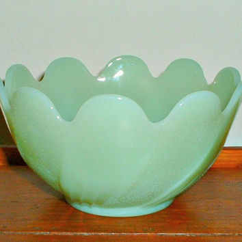 Jadite Fire King Bowl Lotus Blossom Jadeite