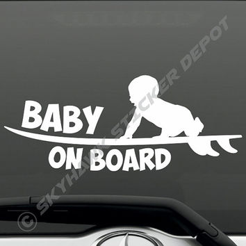 Baby On Board Funny Bumper Sticker Vinyl Decal - Surfer Baby Surfing Surfboard Sea Ocean Car Van Truck SUV JDM Dope Euro ill Turbo Truck