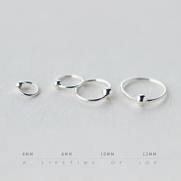NEW 6mm - 12mm Simple Mini Hoop 925-sterling-silver Small Hoop Earrings Ball Korean Sterling-silver-jewelry Circle Jewlery Girls