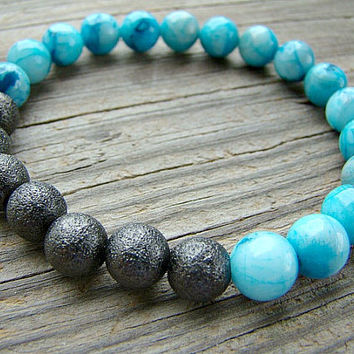 Blue Crazy Lace Agate and Stardust Stretch Bracelet, Gemstone Beaded Bracelet, Gunmetal Stardust and Blue Gemstone Stacking Bracelet