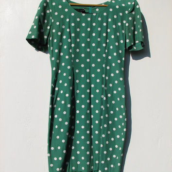 Vintage My Michelle Green and White Polka Dot Dress