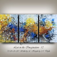Contemporary Art Gold Abstract Painting on Canvas, Large Wall Art, Modern Blue Yellow Muilticolor Original Artwork by Nandita Fast Shipping