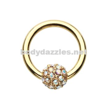 Gold Full Dome Pave Steel Captive Bead Ring 14ga 16ga Belly Ring Cartilage Tragus Daith Helix Rook