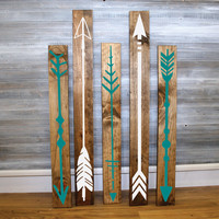 Reclaimed Wood Arrow Sigs - Set of 5 - Wall Decor, Arrow Design, Wood Home Decor, Gift for Her, Aztec Bedroom, Wood Tribal Sign