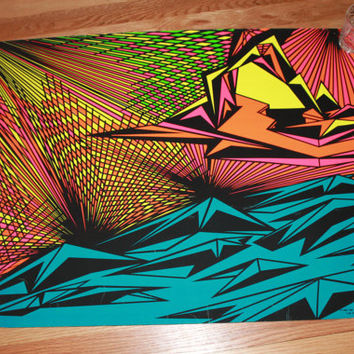 Vintage 1960's Euphoric Phase by Ivan Puslavsky, The 3rd Eye Inc. Blacklight Poster