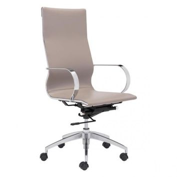 ZUO Modern Glider 100373 Hi Back Office Chair Taupe
