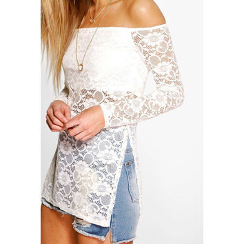 Fashion Lace Off Shoulder Long Sleeve Top
