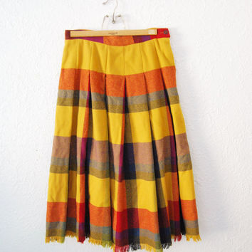 Vintage Plaid Midi Skirt Yellow Red Tartan / womens/ frayed