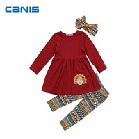 2017 Brand New Thanksgiving Day Kids Toddler Infant Baby Girl Outfits Clothes Long Sleeve T-shirt Tops Dress Long Pants 3Pcs Set
