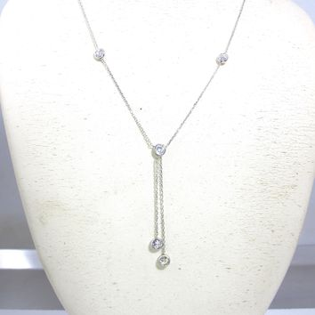 14K White Gold Cubic Zirconia Station Necklace, CZ  By The Yard Necklace