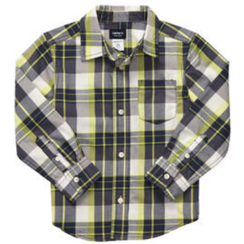 Button-Front Poplin Shirt