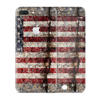 Rustic Cracked Concrete American Flag Skin for the Apple iPhone