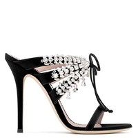 Giuseppe Zanotti Madelyn Crystal Decorated with Black Satin High Heeled Sandals