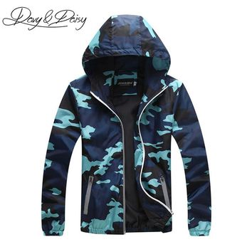 DAVYDAISY Men Camouflage Jacket Thin Sunscreen Coat Hooded Windproof Reflective Military Jacket Couple Clothing DCT-118