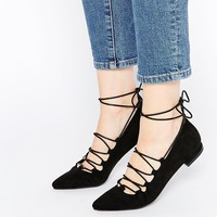 Pieces Kolleen Point Lace Wrap Flat Shoes