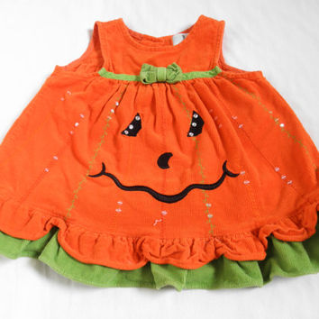 Vintage Baby Girls' Dresses Halloween Pumpkin Dress Kids and Baby Costumes 9 Month Size