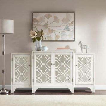 Madison Park Nevaeh Cream Dining Buffet Server Quatrefoil Design with Mirrored Doors | Overstock.com Shopping - The Best Deals on Buffets