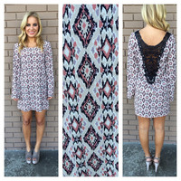 Aztec Stone Long Sleeve Dress