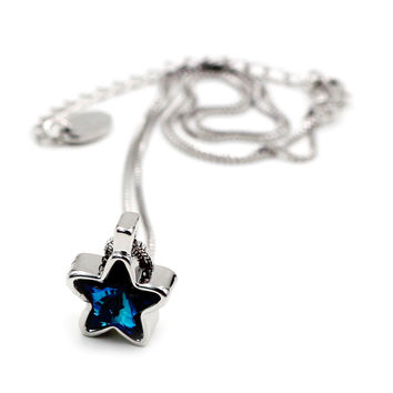Blue stars crystal silver bracelet necklace set