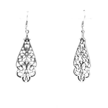 Reverse Fleur Earrings In Antique Silver