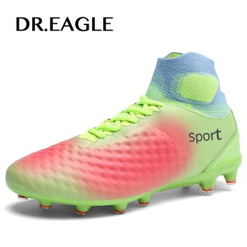 DR.EAGLE football shoes outdoor high ankle soccer shoes cleats football boot original professional footballs boots sneakers