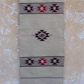 Handwoven kilim rug, handwoven off white kilim rug with red motifs, wool rug, boho rug, handwoven boho rug, home decor rug