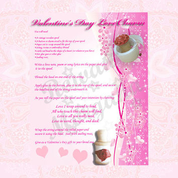 LOVE CHARM, Digital Download, Valentine's Day, Love Spell, Book of Shadows Page, Grimoire, Scrapbook, Spells
