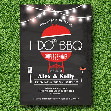I Do BBQ Invitations, Wedding Shower Invites, Couples Shower BBQ, Wedding Shower BBQ Chalkboard, Engagement Party, Bridal bbq - card 597