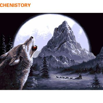 CHENISTORY Wolf Animals Diy Digital Painting By Numbers Wall Art Picture Acrylic Drawing Paint By Numbers For Home Decor 40x50cm