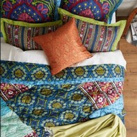 Anthropologie Wildfield Quilted King Sham EUC Floral Stripes Navy Multicolor