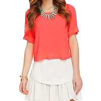 GB Cuffed Short-Sleeve Top - Neon Coral