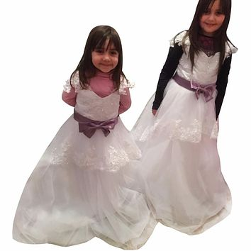 Cheap Flower Girl Dresses For Wedding Cap Sleeve White Lace Tulle Pageant Gowns With Bow Sash For Birthday Party First Communion