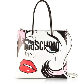Moschino Crying Comic Girl White Leather Tote Bag w/Shoulder Strap
