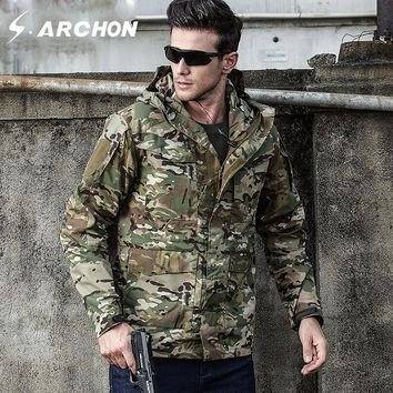 S.ARCHON M65 Autumn Winter Military Field Jackets Men Hooded Waterproof Windproof Tactical Pilot Jacket Male Camo Army Clothing