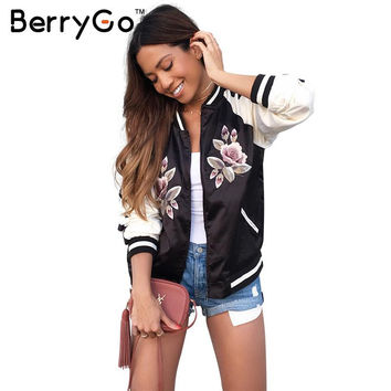 BerryGo Satin floral embroidery bomber jacket Women autumn winter street jacket coat Basic jackets cool sukajan veste