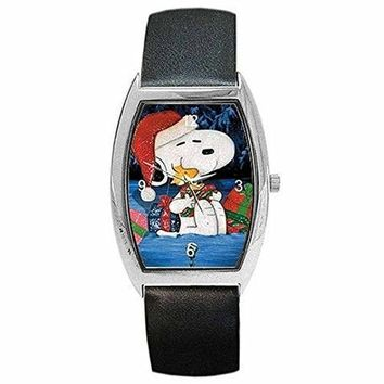 Christmas Snoopy, Woodstock and Presents Womens Barrel Watch with Leather Band watches K7-SMK8-5W73