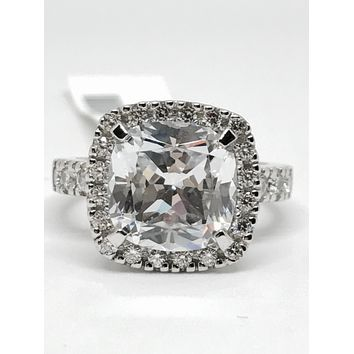 A perfect 3.9CT Cushion Cut Halo Russian Lab Diamond Engagement Ring