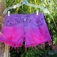 Pink and Purple Dip Dyed Shorts