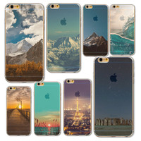 Back Phone Case For iPhone 6 6s Fashion Case Snow And Sky Background Semi Transparent Soft TPU Design