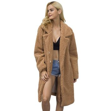 Long Sleeve Womens Oversized Faux Fur Coat Wool Knitted Ladies Warm Cashmere Fur Coat Rabbit Fur Jacket Fluffy Trench Coats