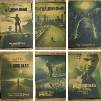 Vintage Classic The Walking Dead TV Series Movie Poster Retro Kraft Paper Bar Cafe Home Decor Painting Wall Sticker 21x30cm