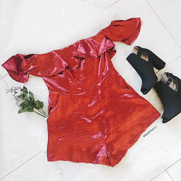 Satin Romper (Burgundy)