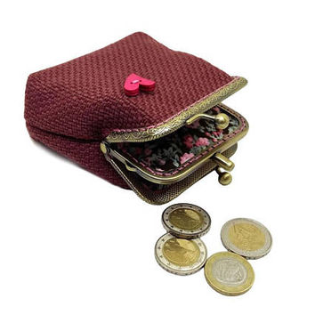 Small Double Pockets Coin Purse, Kiss Lock coin Purse, Dark Pink Coin Purse, Valentine's Gift for Her, Antique Bronze Frame