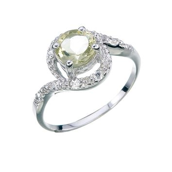 0.70 Carats Sterling Silver Lemon Quartz Ring (0.70 CT)